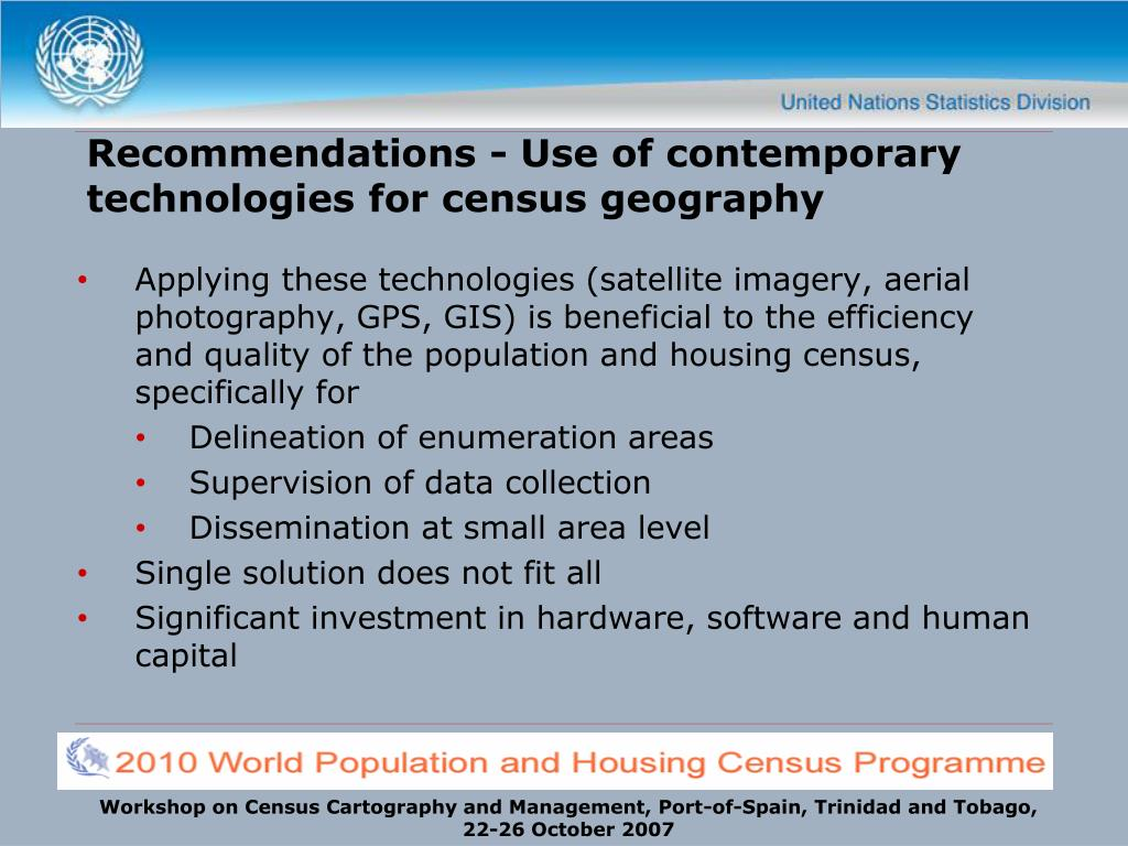 Recommendations - Use of contemporary technologies for census geography