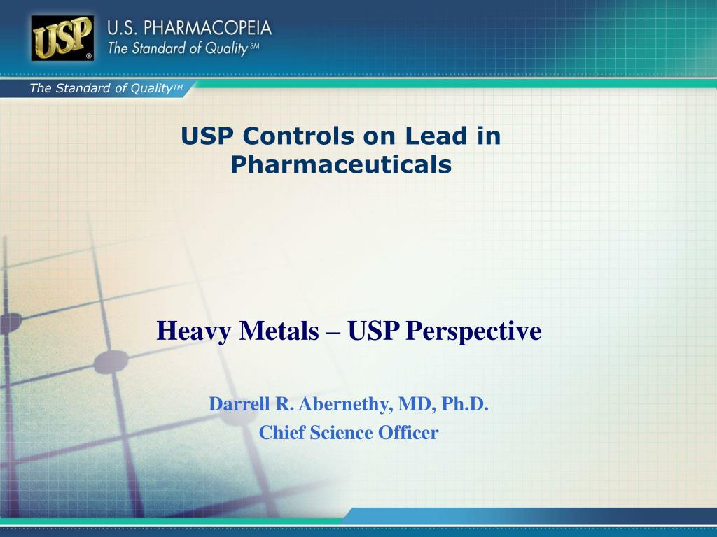USP Controls on Lead in Pharmaceuticals