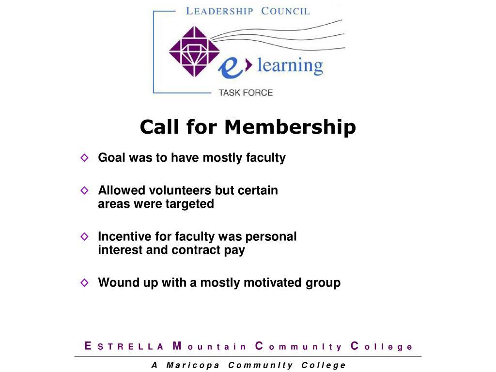 Call for Membership