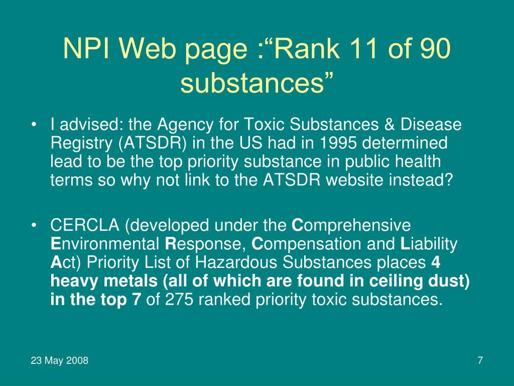 NPI Web page :