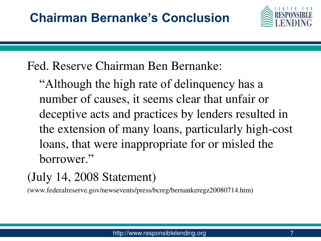 Chairman Bernanke's Conclusion