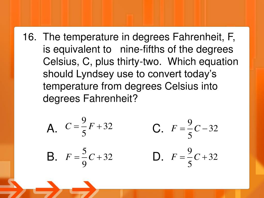 The temperature in degrees Fahrenheit, F,
