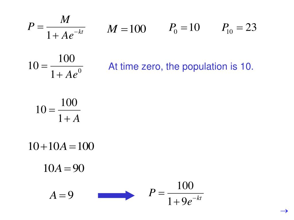 At time zero, the population is 10.