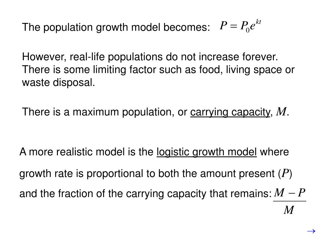 The population growth model becomes: