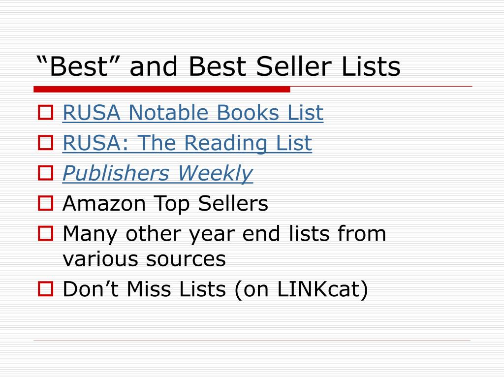 """Best"" and Best Seller Lists"