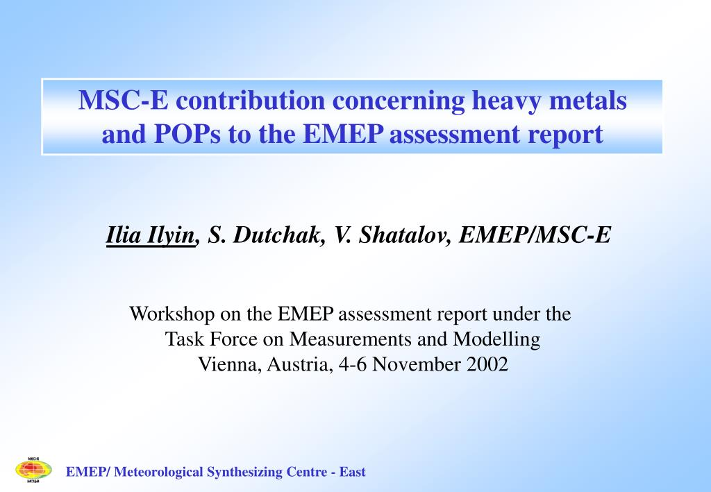 MSC-E contribution concerning heavy metals