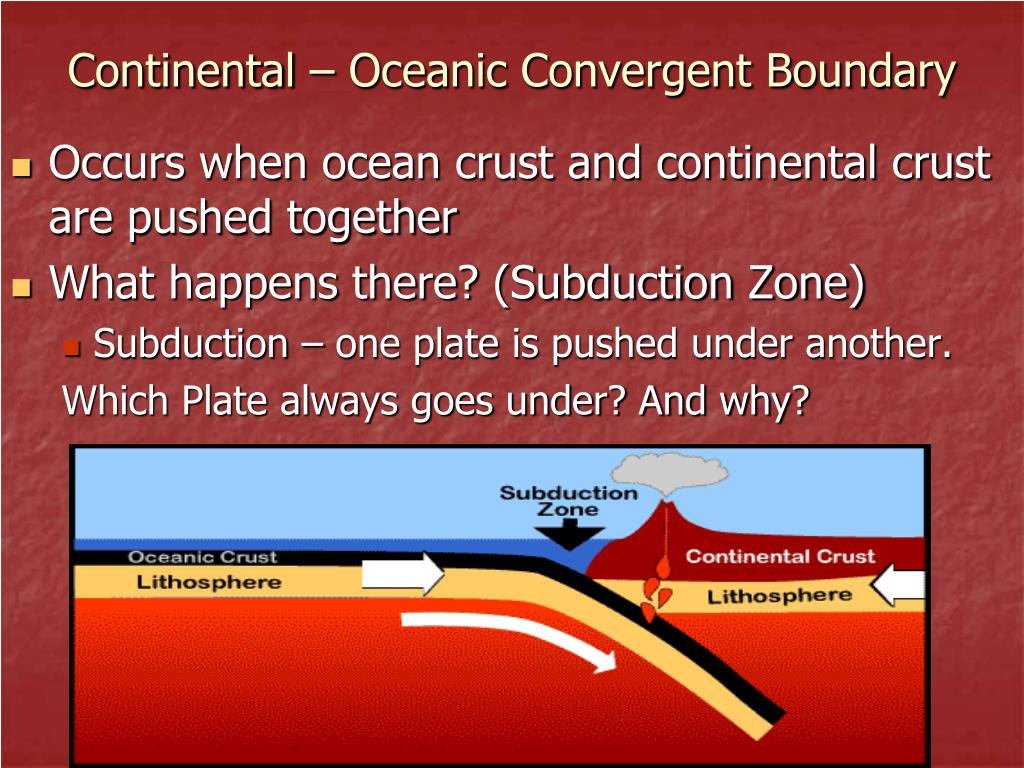 at convergent plate boundaries where oceanic and continental crust meet