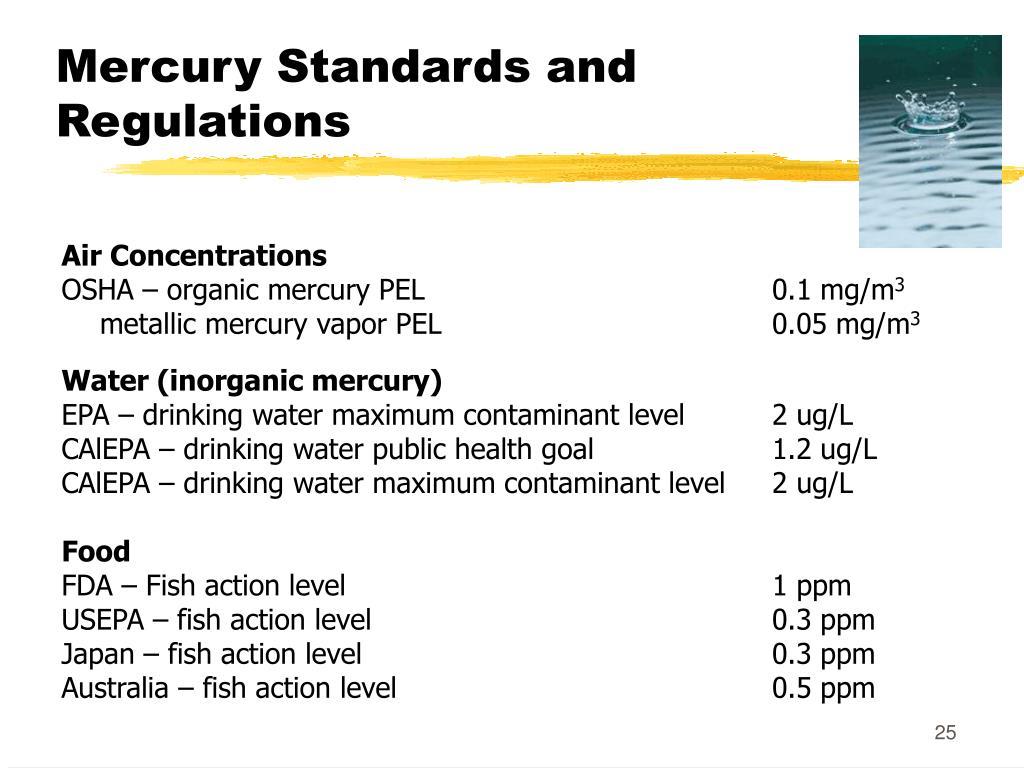 Mercury Standards and Regulations
