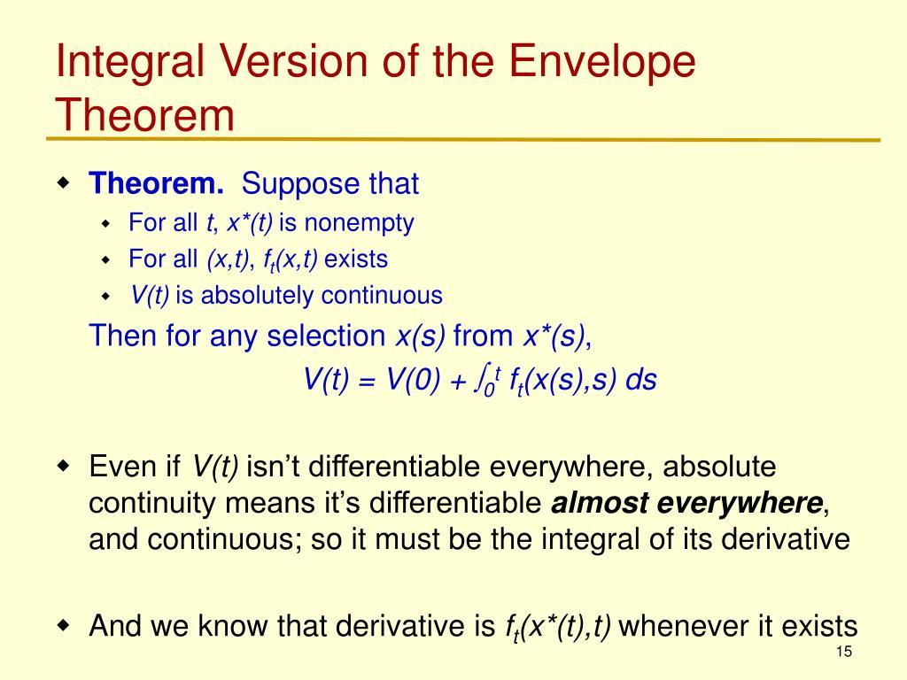 Integral Version of the Envelope Theorem