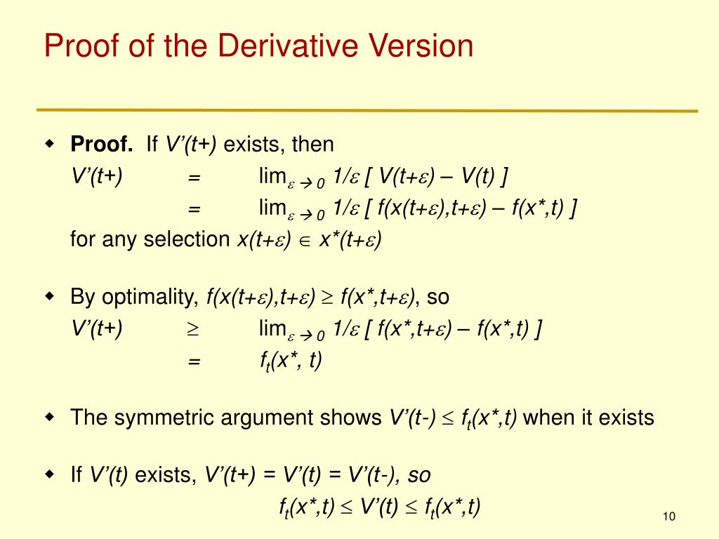 Proof of the Derivative Version