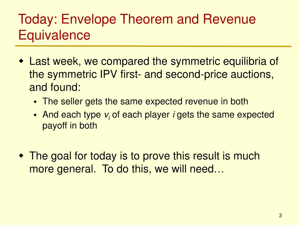 Today: Envelope Theorem and Revenue Equivalence