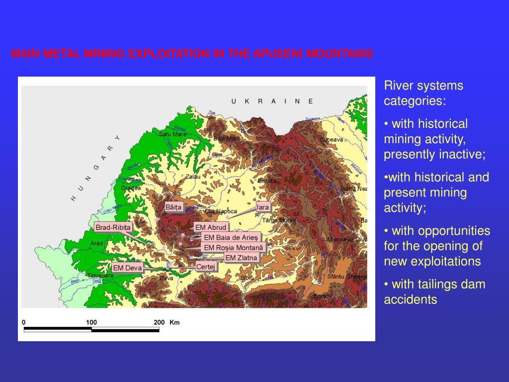 MAIN METAL MINING EXPLOITATION IN THE APUSENI MOUNTAINS