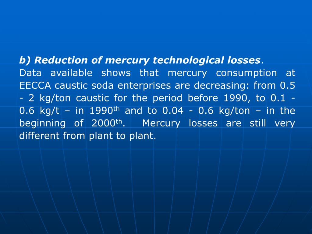 b) Reduction of mercury technological losses