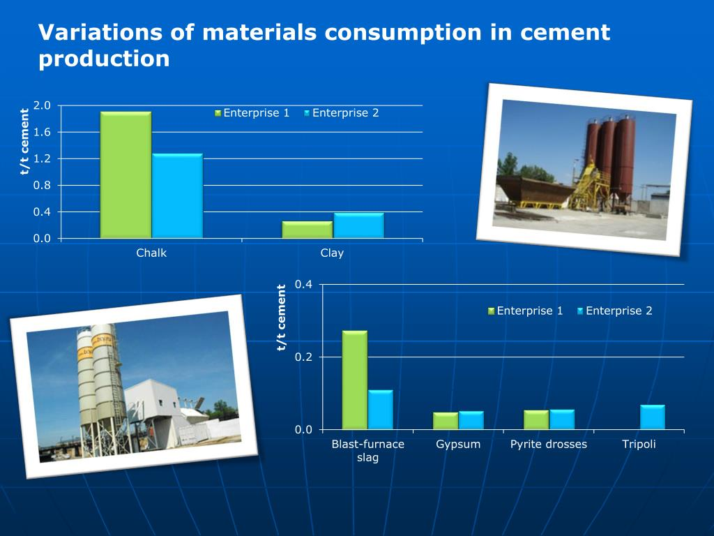 Variations of materials consumption in cement production