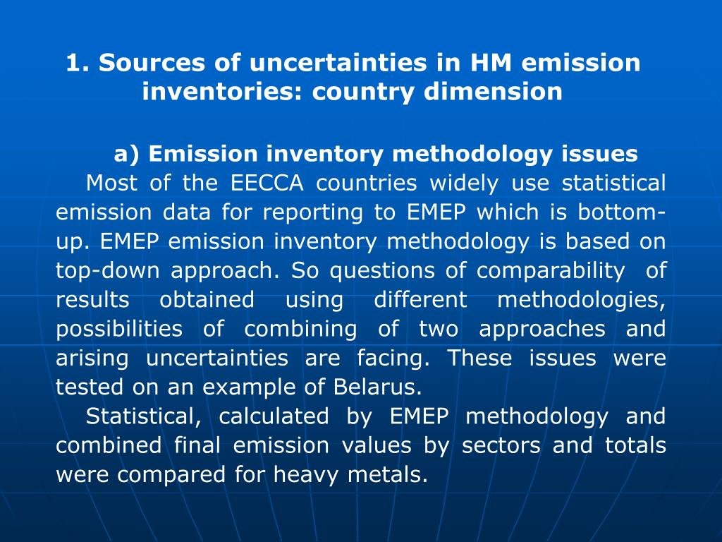 1. Sources of uncertainties in HM emission inventories: country dimension