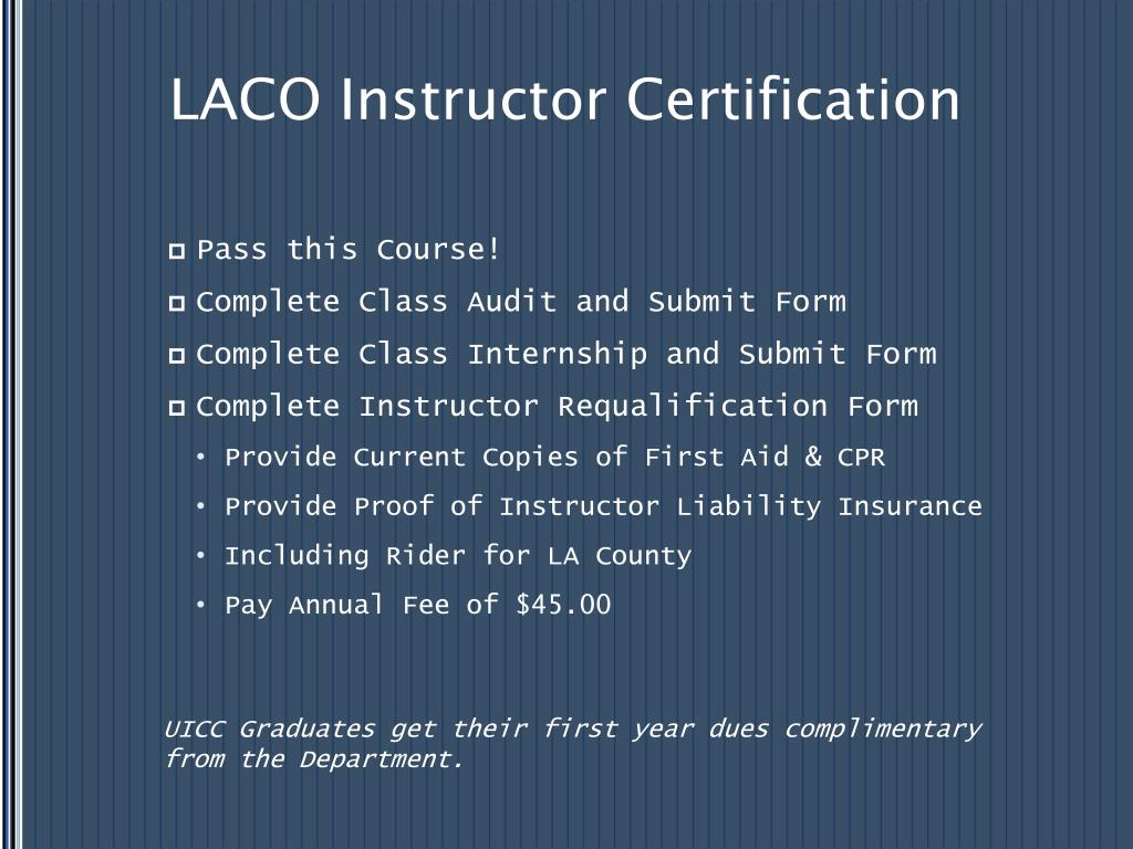 LACO Instructor Certification