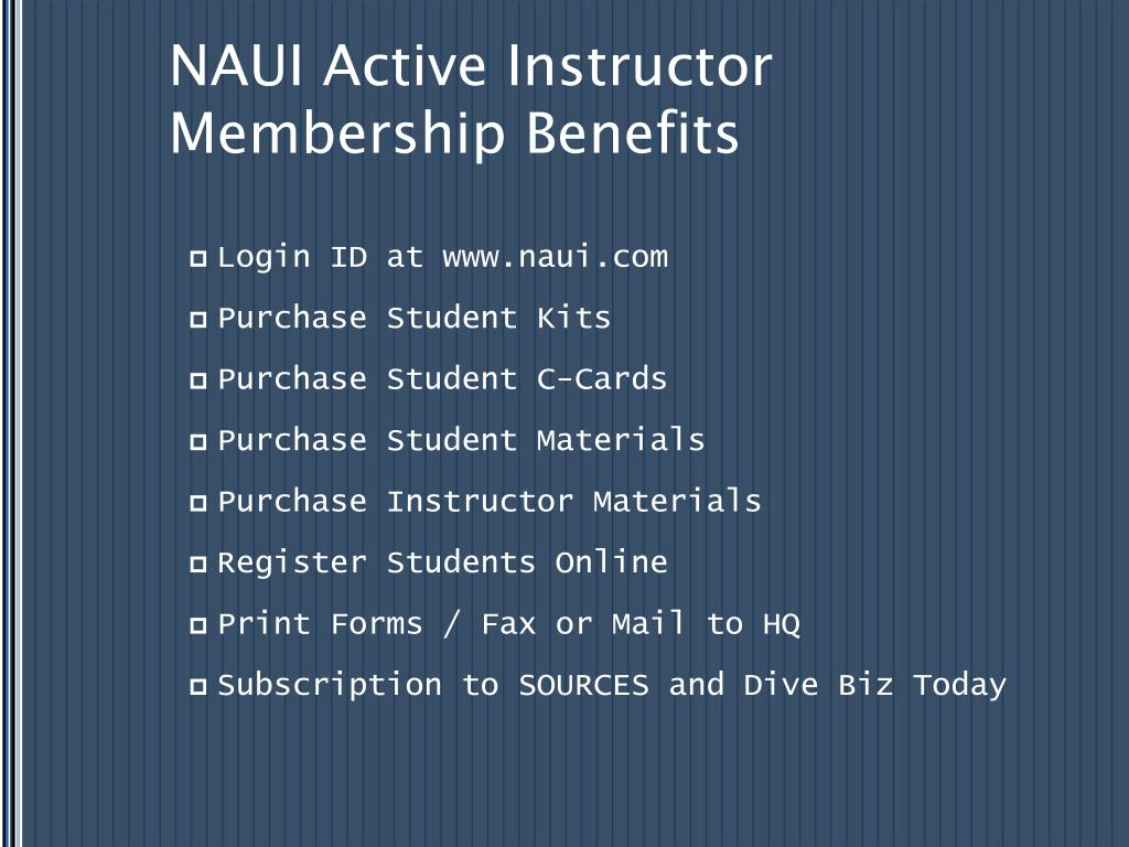 NAUI Active Instructor Membership Benefits