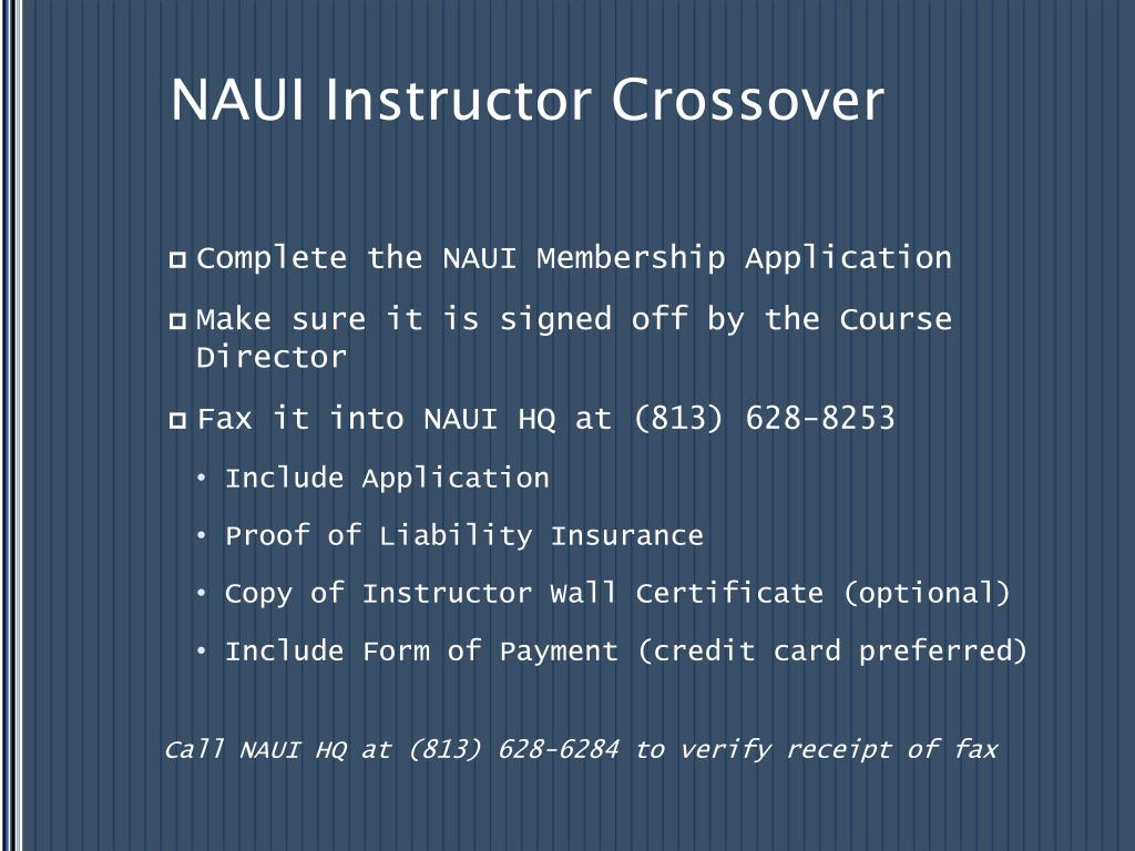 NAUI Instructor Crossover