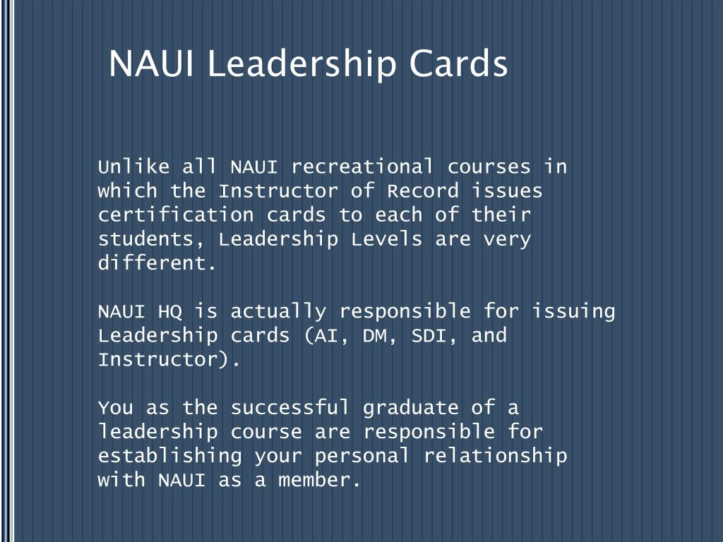 NAUI Leadership Cards