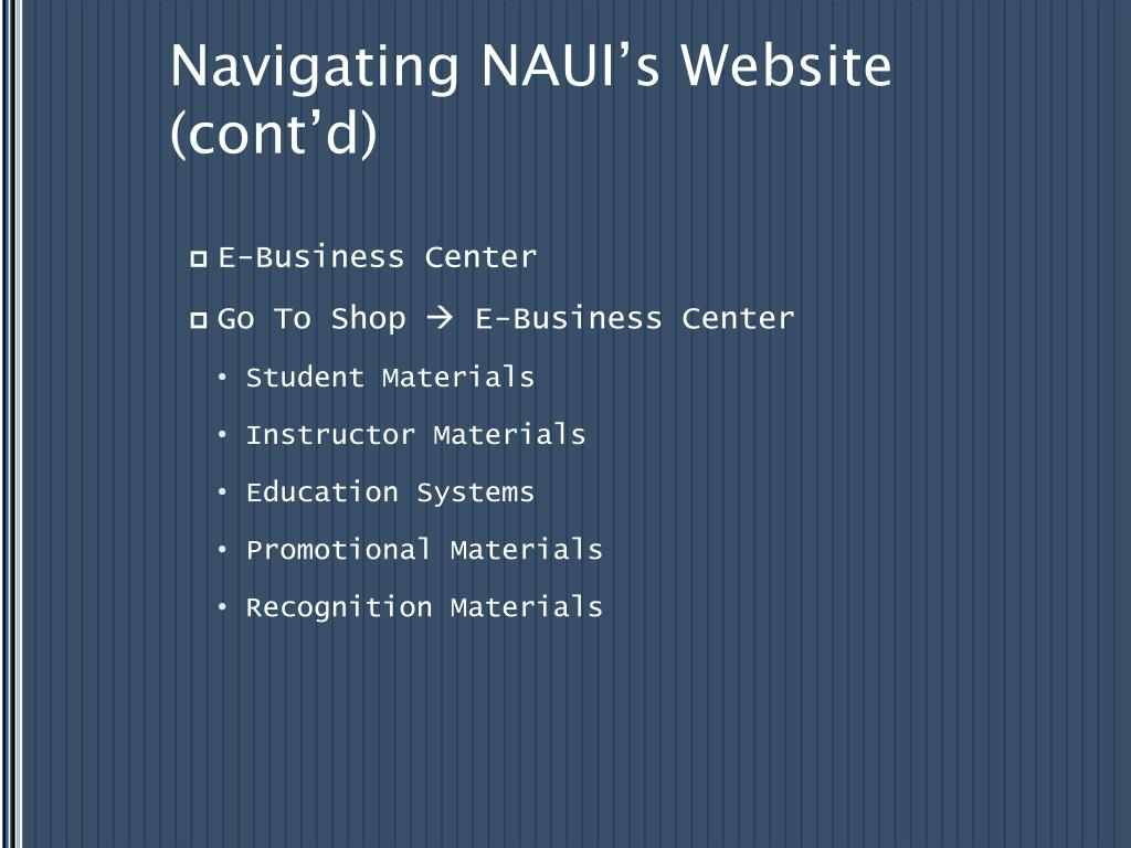 Navigating NAUI's Website (cont'd)