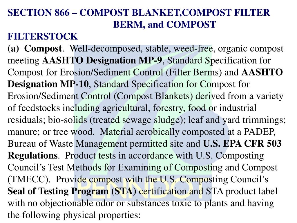 SECTION 866 – COMPOST BLANKET,COMPOST FILTER 				BERM, and COMPOST FILTERSTOCK