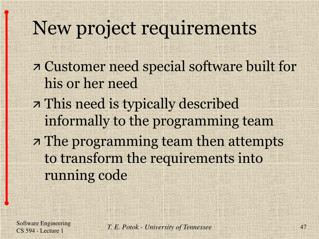 New project requirements