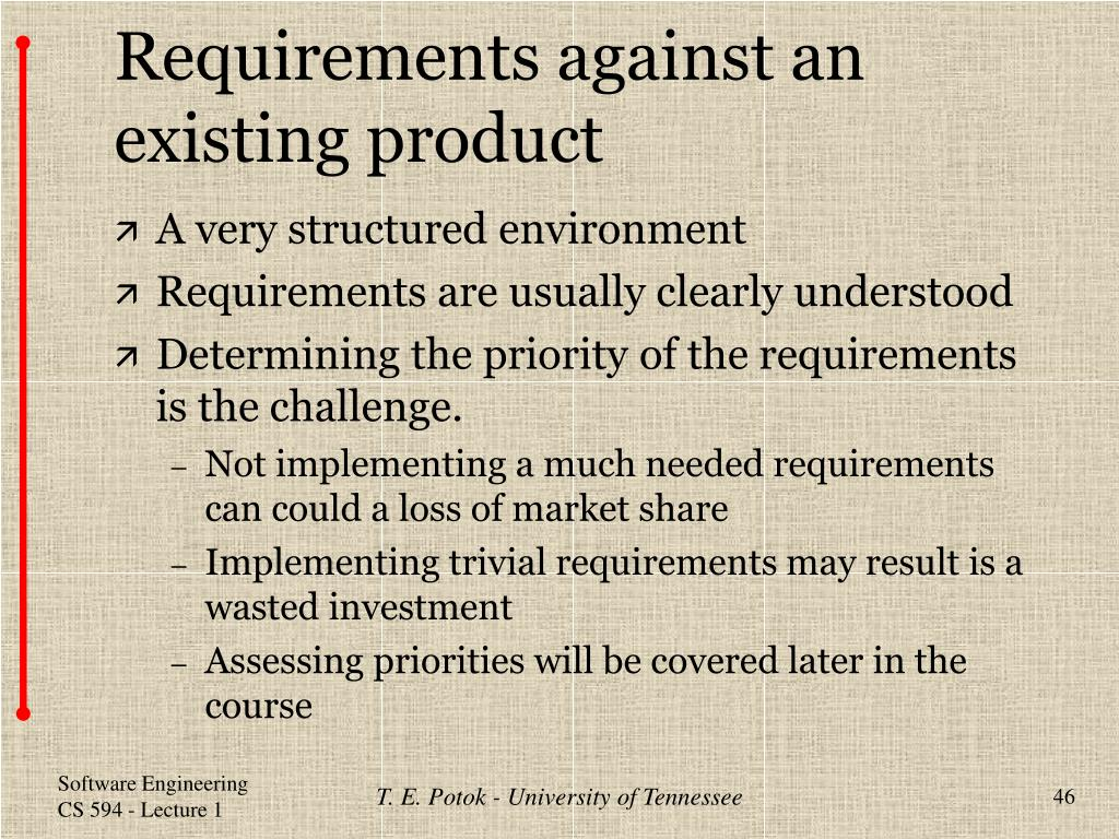 Requirements against an existing product