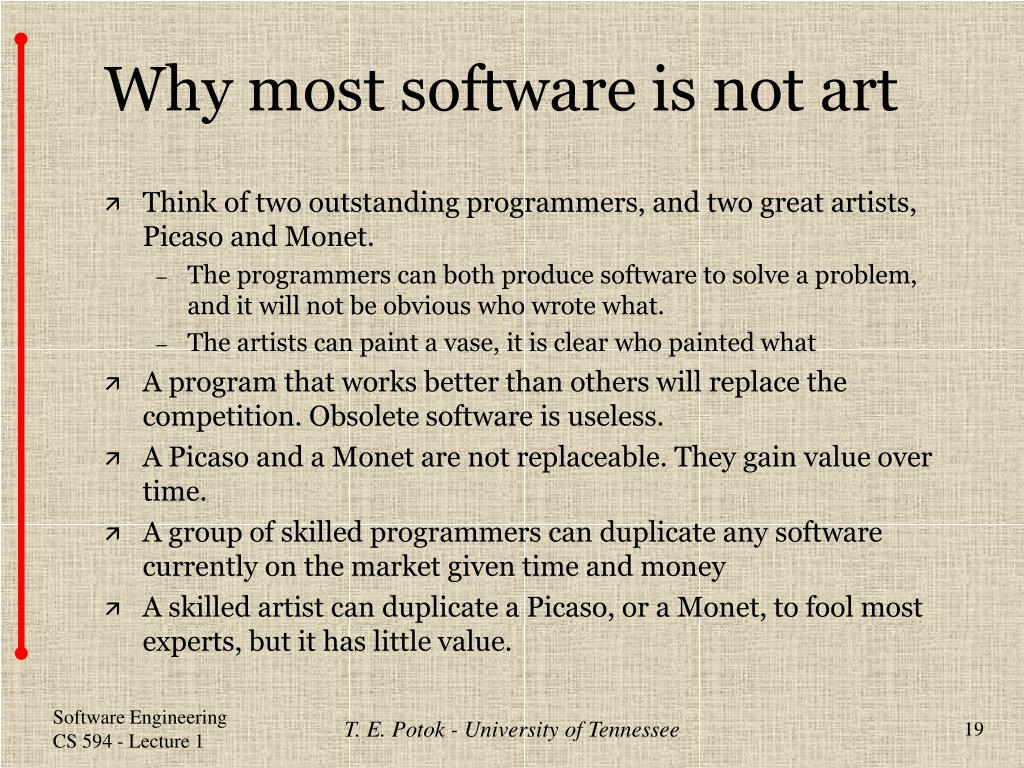 Why most software is not art