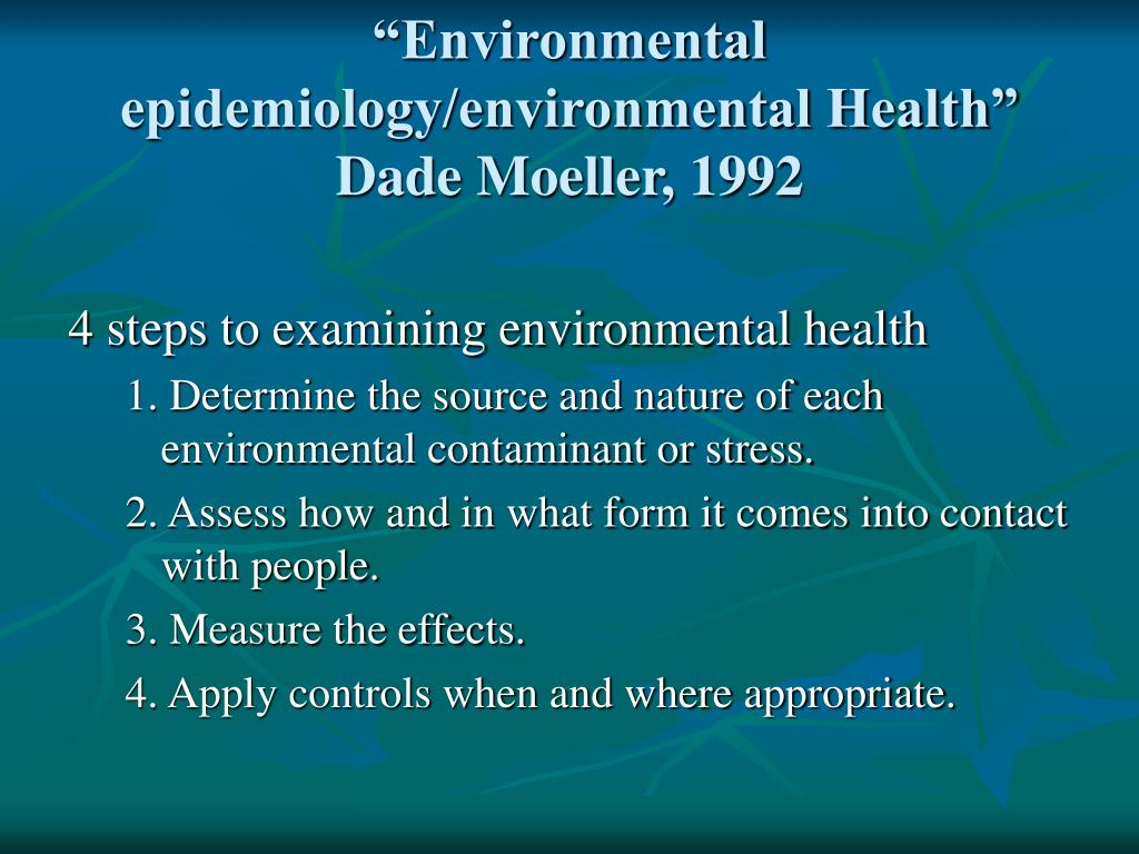 """Environmental epidemiology/environmental Health"""