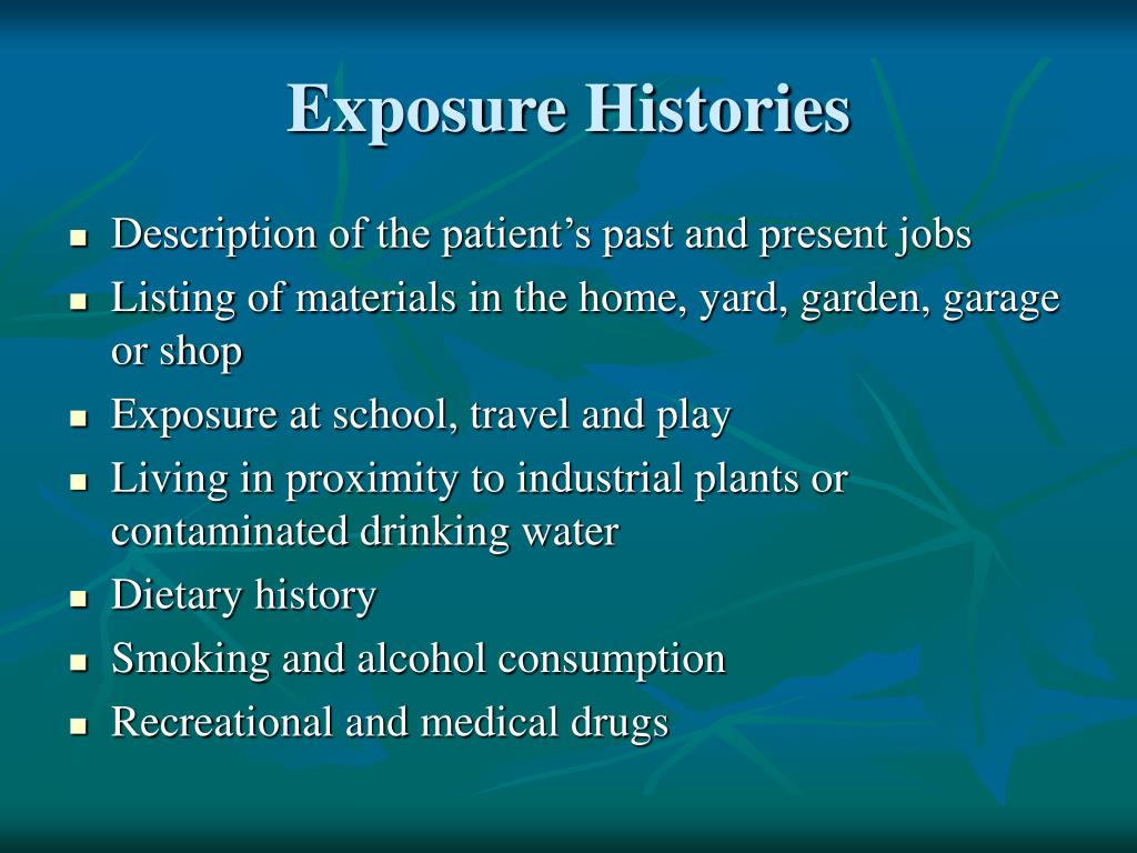 Exposure Histories
