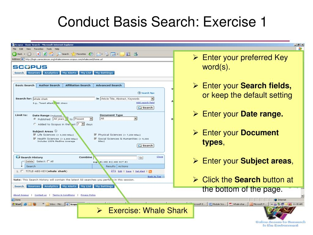 Conduct Basis Search: Exercise 1
