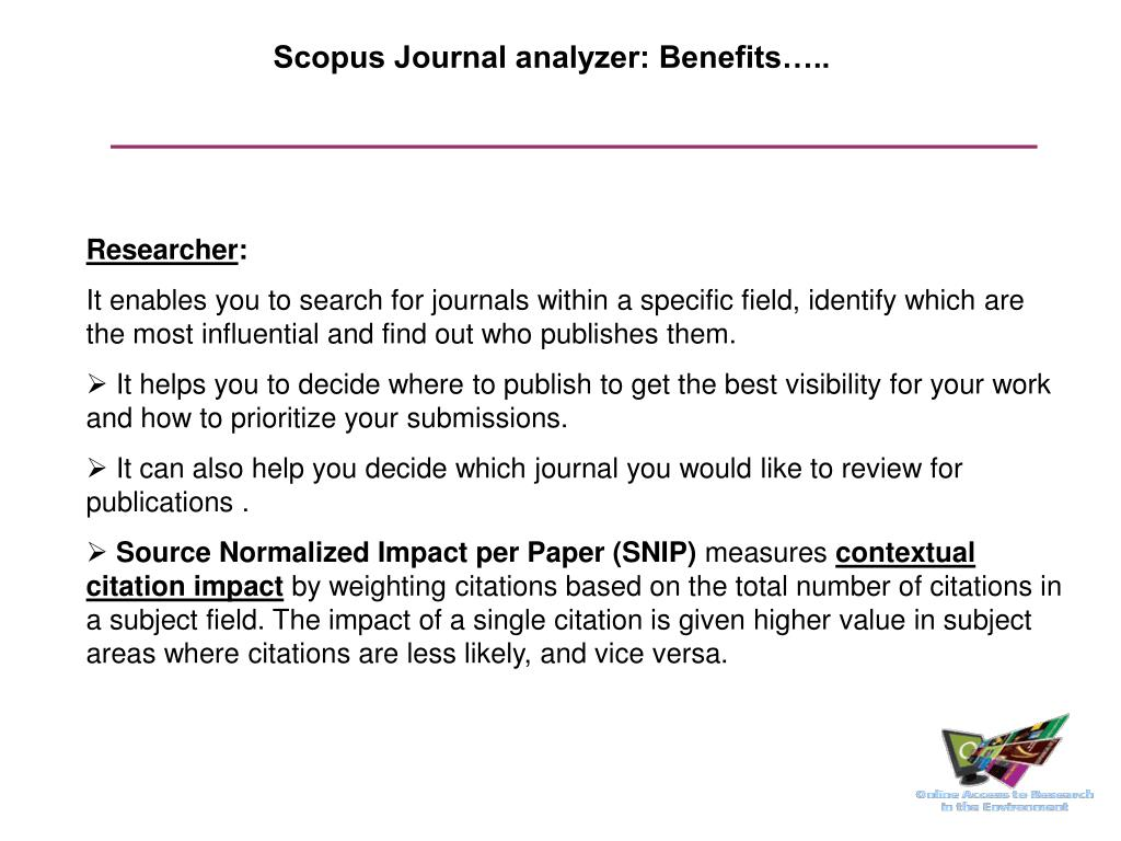 Scopus Journal analyzer: Benefits…..