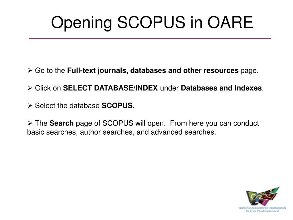 Opening SCOPUS in OARE