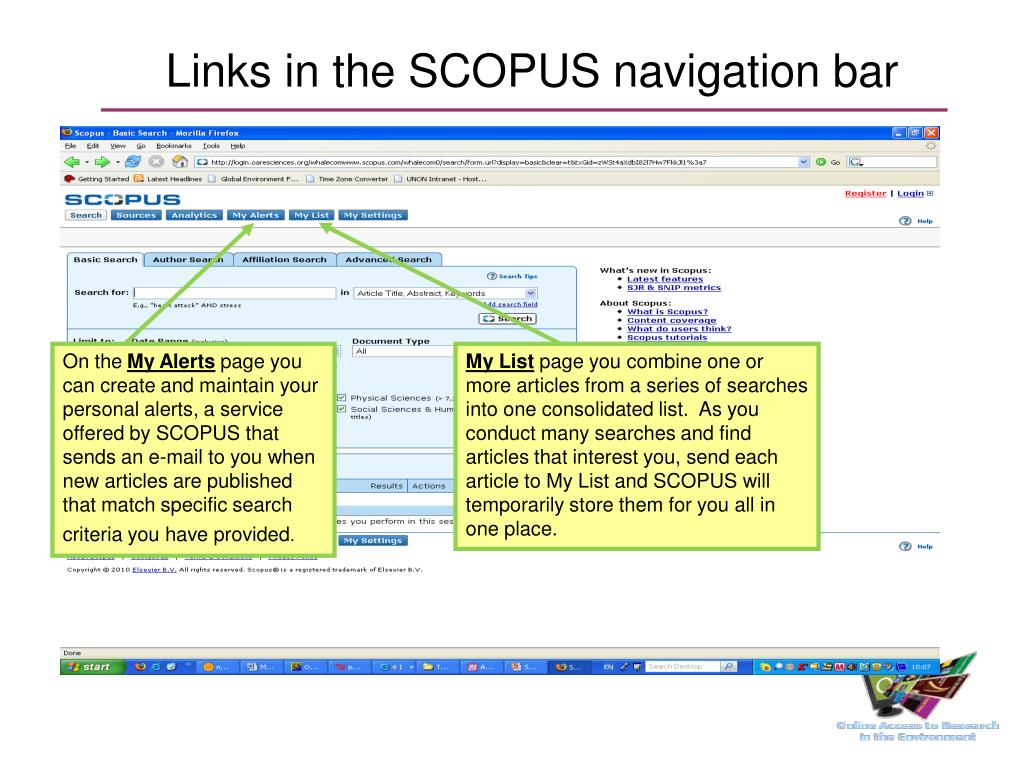 Links in the SCOPUS navigation bar
