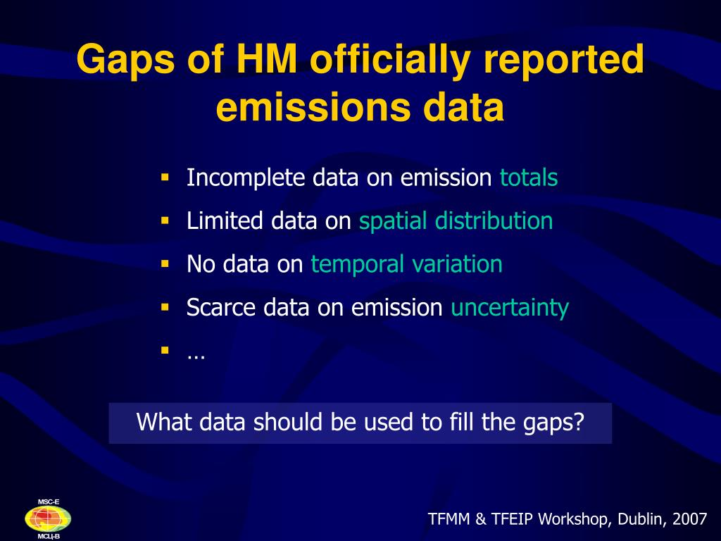 Gaps of HM officially reported emissions data