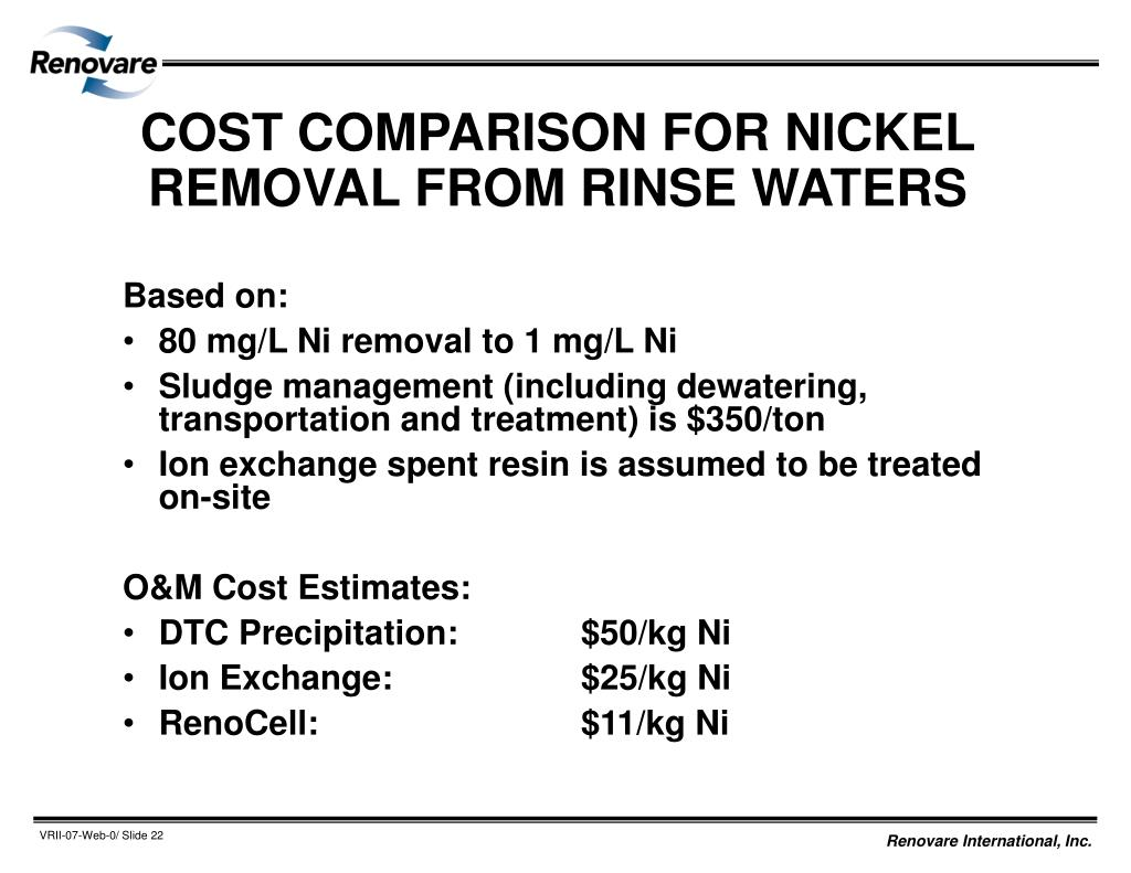 COST COMPARISON FOR NICKEL REMOVAL FROM RINSE WATERS