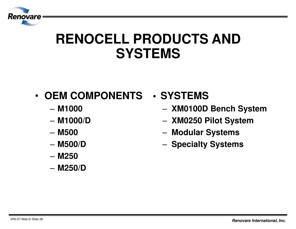 RENOCELL PRODUCTS AND SYSTEMS