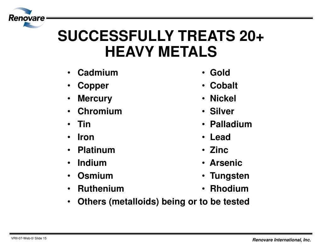 SUCCESSFULLY TREATS 20+ HEAVY METALS