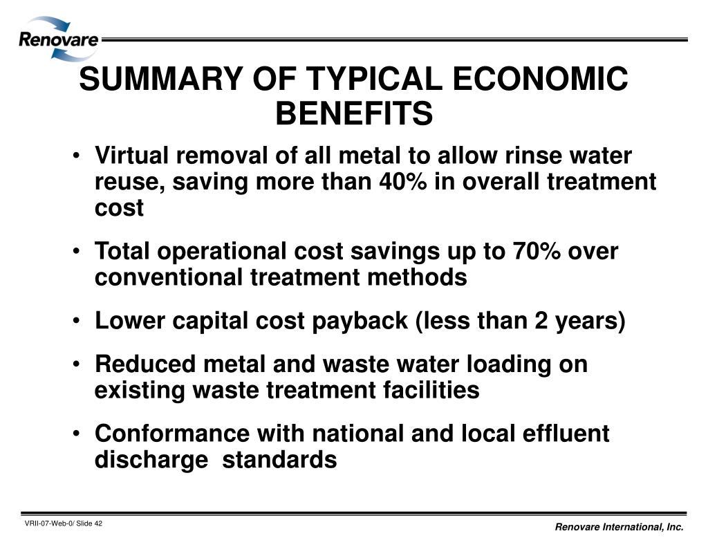 SUMMARY OF TYPICAL ECONOMIC BENEFITS