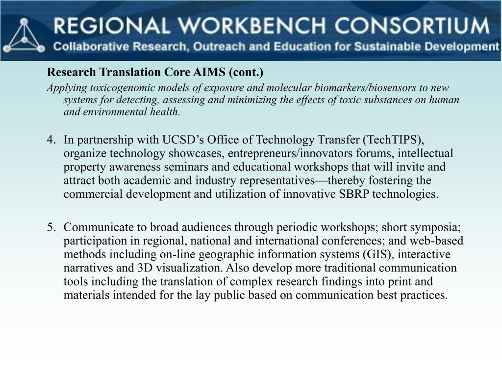 Research Translation Core AIMS (cont.)