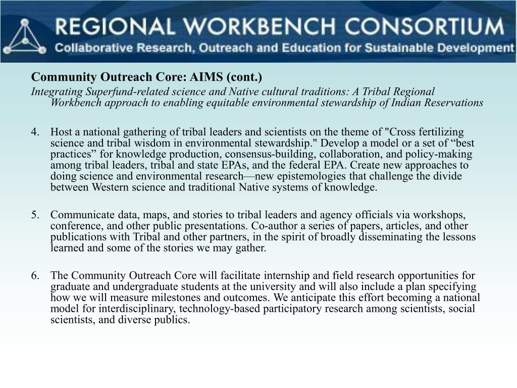 Community Outreach Core: AIMS (cont.)