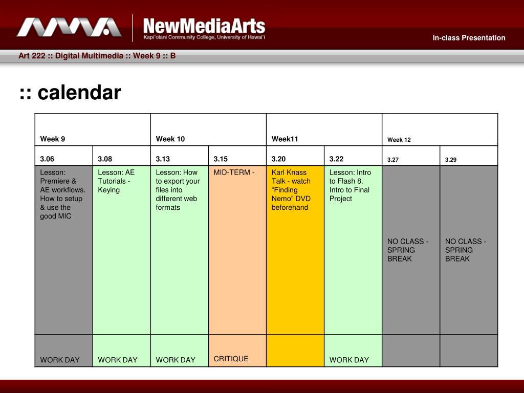 :: calendar