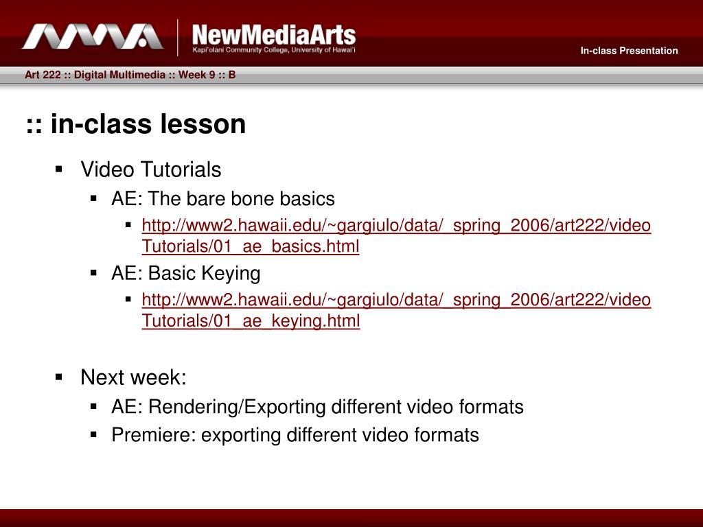 :: in-class lesson