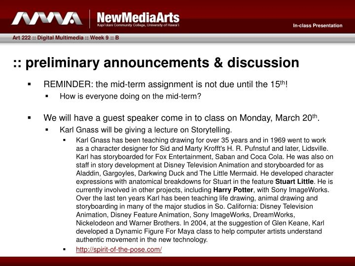 Preliminary announcements discussion