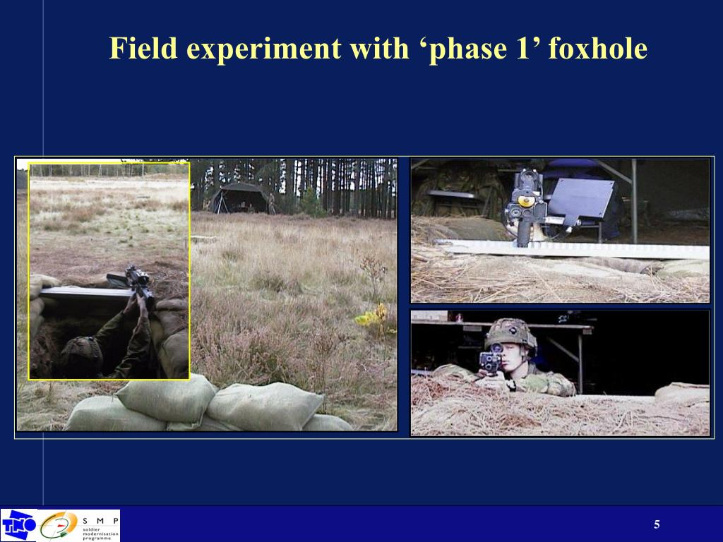 Field experiment with 'phase 1' foxhole