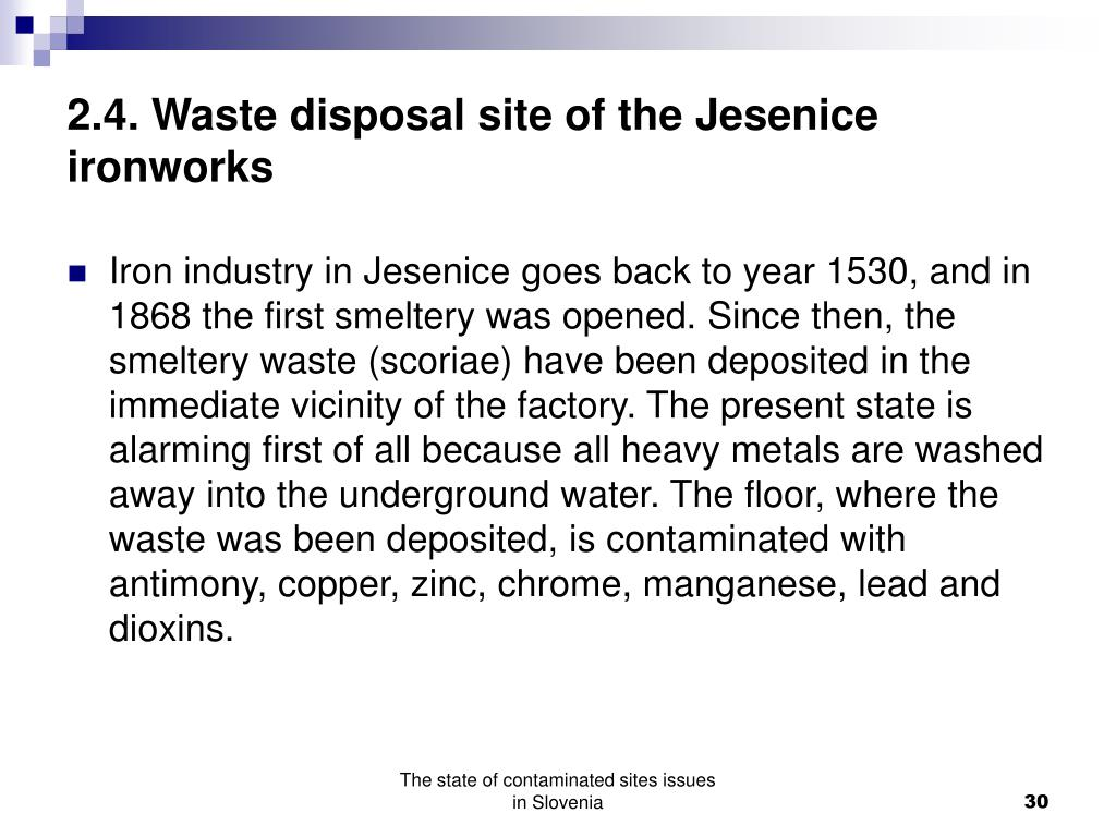 2.4. Waste disposal site of the Jesenice ironworks