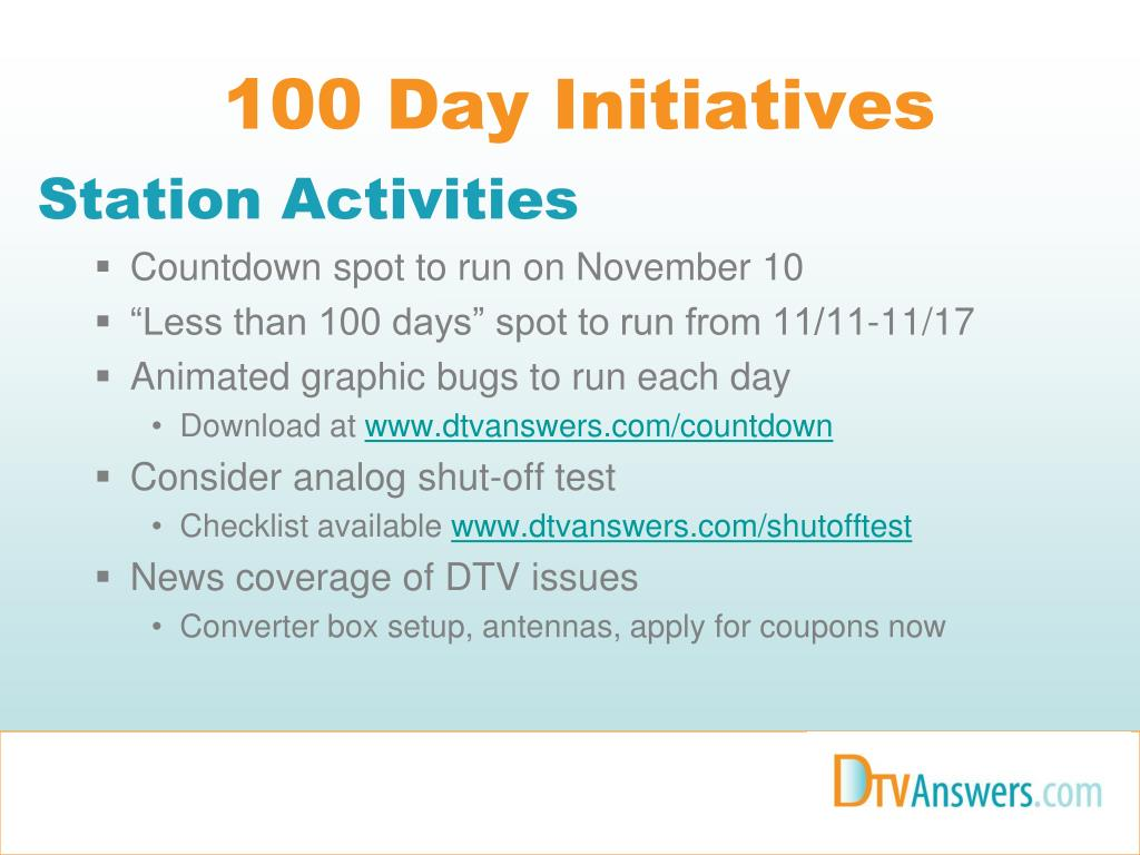 100 Day Initiatives