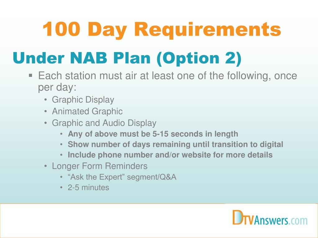100 Day Requirements