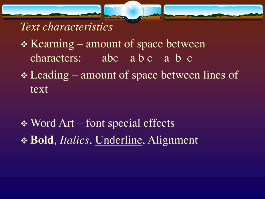 Text characteristics