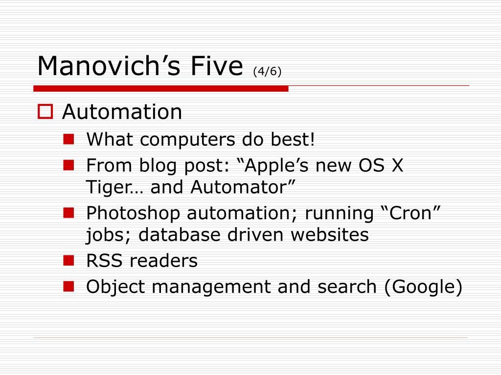Manovich's Five